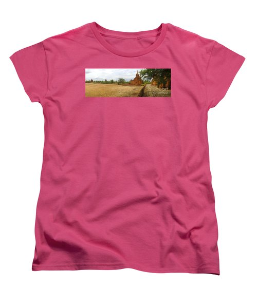 Women's T-Shirt (Standard Cut) featuring the photograph Panoramic View Next To Dhammayazika Pagoda Built In 1196 By King Narapatisithu by Ralph A  Ledergerber-Photography
