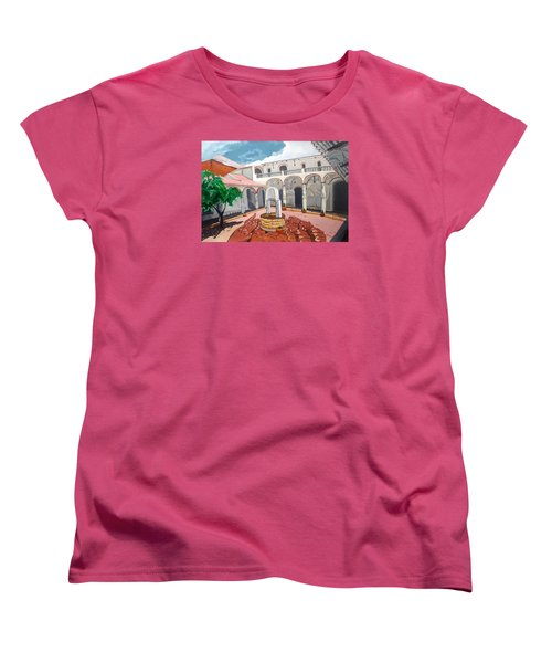 Women's T-Shirt (Standard Cut) featuring the painting Patio Colonial by Lazaro Hurtado