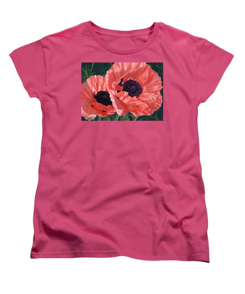 Women's T-Shirt (Standard Cut) featuring the painting Peachy Poppies by Lynne Reichhart