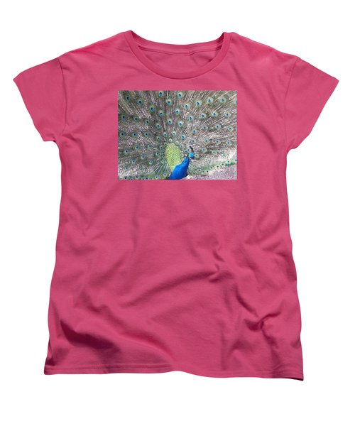 Women's T-Shirt (Standard Cut) featuring the photograph Peacock Bow by Caryl J Bohn