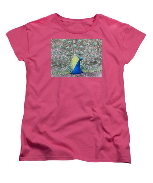 Women's T-Shirt (Standard Cut) featuring the photograph Peacock by Caryl J Bohn
