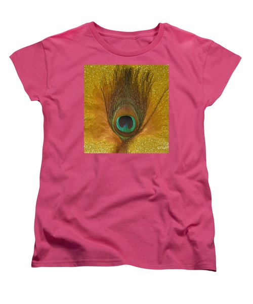 Women's T-Shirt (Standard Cut) featuring the photograph Peacock Feather by Jeepee Aero
