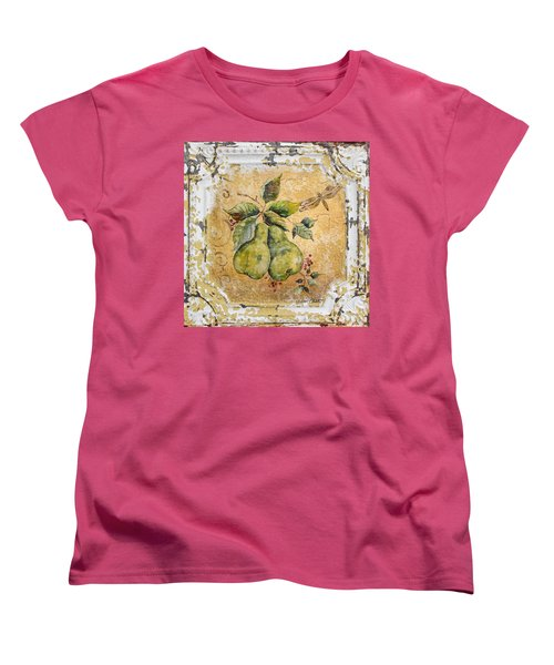 Pears And Dragonfly On Vintage Tin Women's T-Shirt (Standard Cut) by Jean Plout