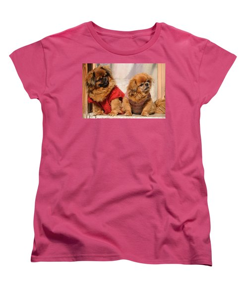 Pekingese Pair Women's T-Shirt (Standard Cut) by Jeremy Voisey