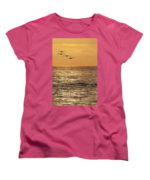 Women's T-Shirt (Standard Cut) featuring the photograph Pelicans Ocean And Sunsetting by Tom Janca