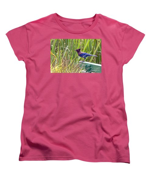 Perching Jay Women's T-Shirt (Standard Cut) by Kate Brown