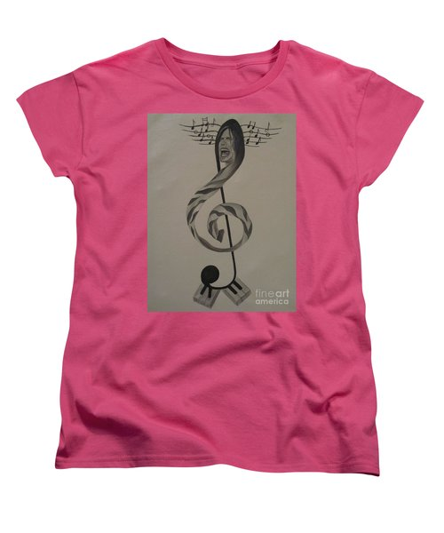 Women's T-Shirt (Standard Cut) featuring the painting Personification Of Music by Jeepee Aero