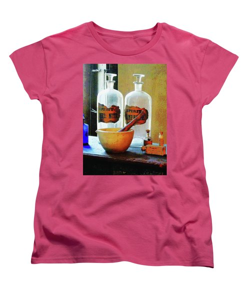 Women's T-Shirt (Standard Cut) featuring the photograph Pharmacist - Mortar And Pestle With Bottles by Susan Savad