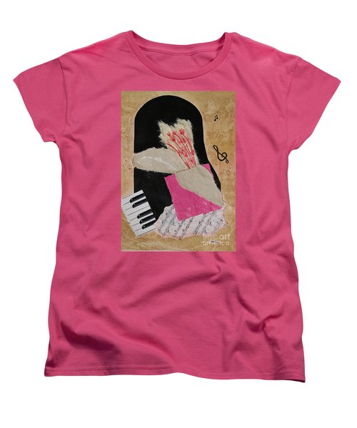 Women's T-Shirt (Standard Cut) featuring the painting Piano Still Life by Mini Arora