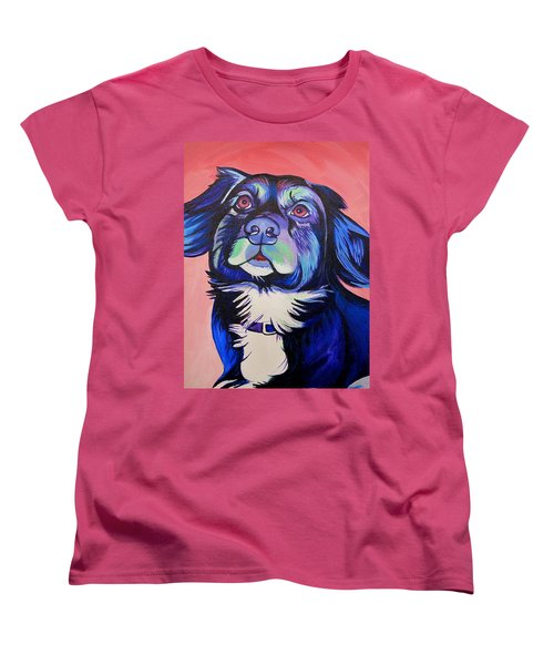 Women's T-Shirt (Standard Cut) featuring the painting Pink And Blue Dog by Joshua Morton