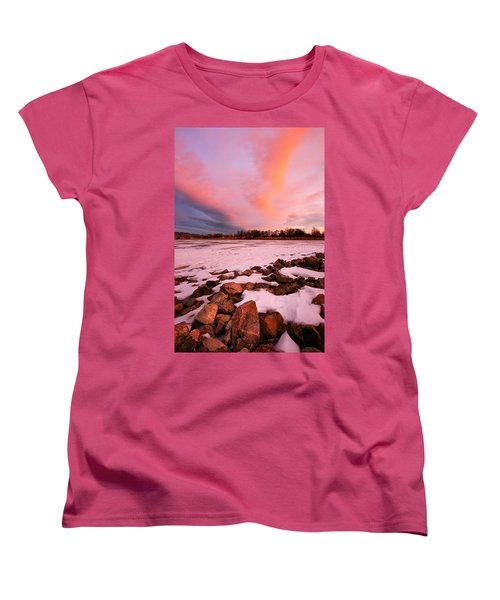 Women's T-Shirt (Standard Cut) featuring the photograph Pink Clouds Over Memorial Park by Ronda Kimbrow