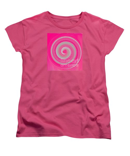 Women's T-Shirt (Standard Cut) featuring the digital art Pink Fluff by Catherine Lott