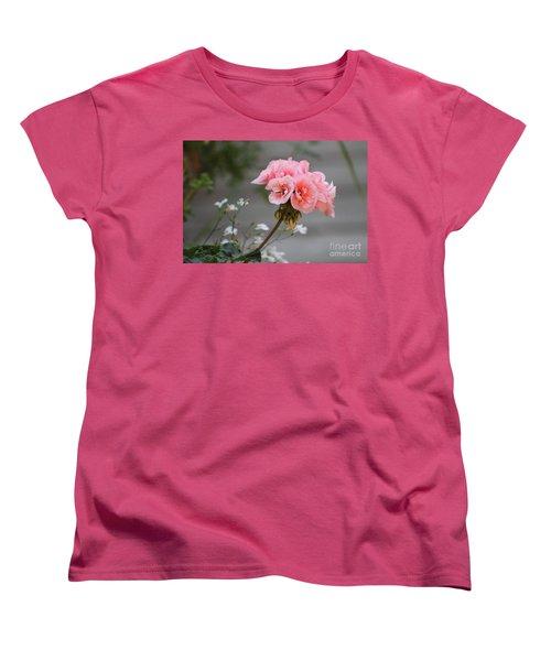 Pink Geranium Women's T-Shirt (Standard Cut) by Leone Lund