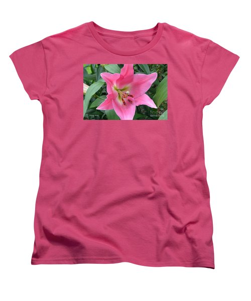 Women's T-Shirt (Standard Cut) featuring the photograph Pink Lily by Jeannie Rhode
