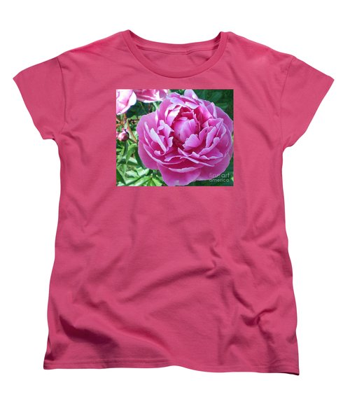 Pink Peony Women's T-Shirt (Standard Cut) by Barbara Griffin