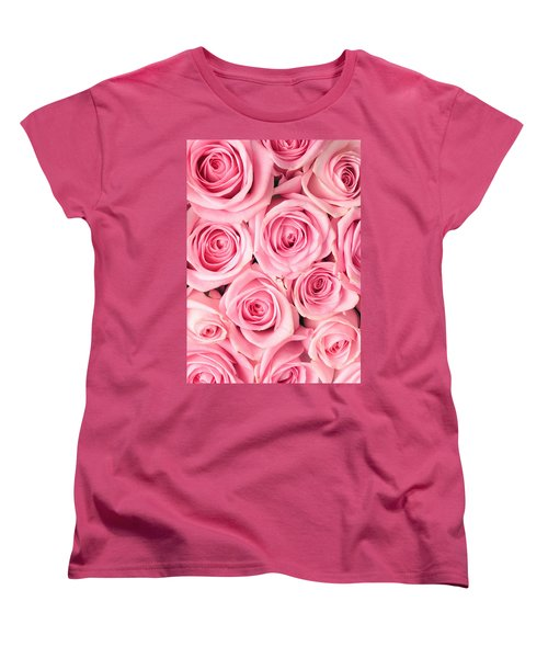 Pink Roses Women's T-Shirt (Standard Cut) by Munir Alawi
