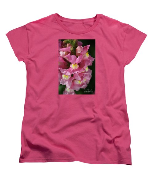 Pink Snapdragon Flowers Women's T-Shirt (Standard Cut) by Joy Watson