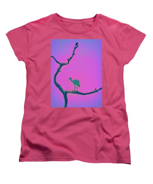Women's T-Shirt (Standard Cut) featuring the painting Pink Spoonbill by David Mckinney