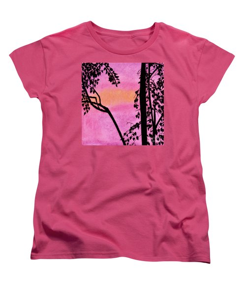 Women's T-Shirt (Standard Cut) featuring the drawing Pink Sky Sunset by D Hackett