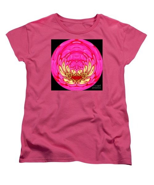 Pink Zinnia Polar Coordinate 2 Women's T-Shirt (Standard Cut) by Rose Santuci-Sofranko