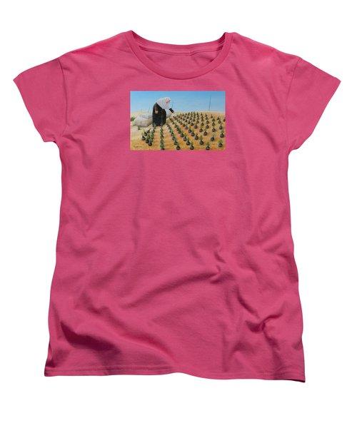 Planting Flowers Women's T-Shirt (Standard Cut) by Angel Ortiz