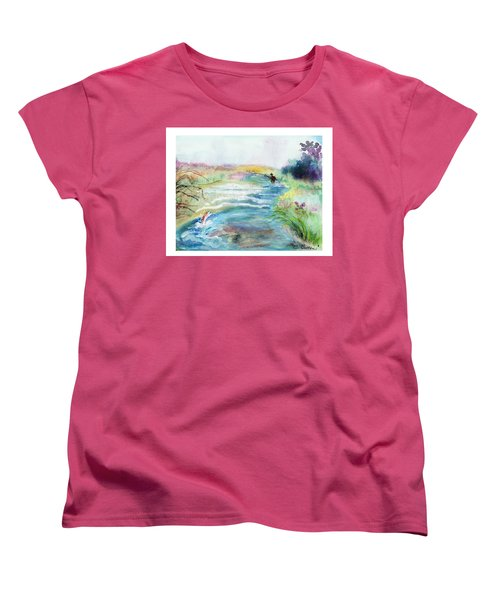 Women's T-Shirt (Standard Cut) featuring the painting Playin' Hooky by C Sitton