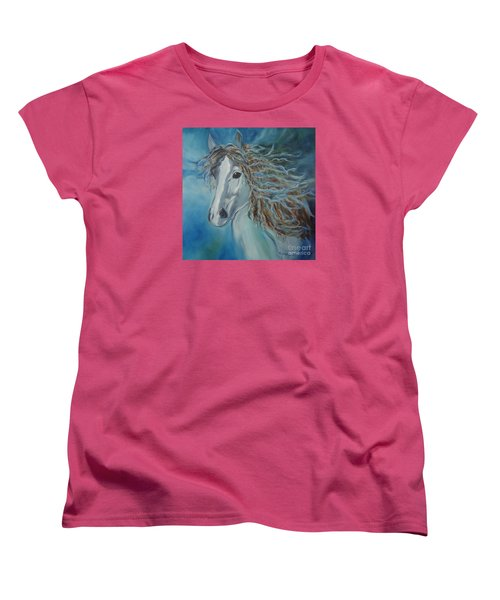 Women's T-Shirt (Standard Cut) featuring the painting Pony by Jenny Lee