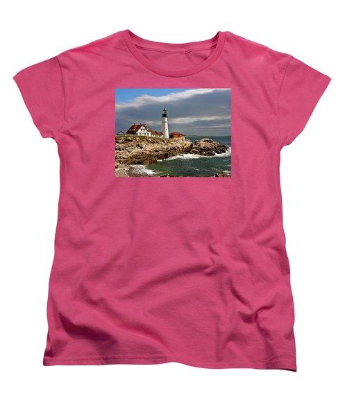 Women's T-Shirt (Standard Cut) featuring the photograph Portland Headlight by John Haldane