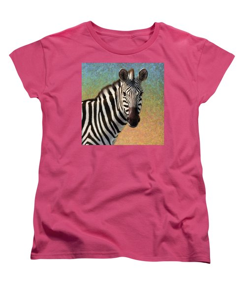 Women's T-Shirt (Standard Cut) featuring the painting Portrait Of A Zebra - Square by James W Johnson