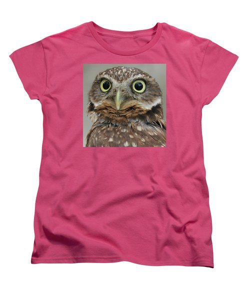 Portrait Of Burrowing Owl Women's T-Shirt (Standard Cut) by Ben and Raisa Gertsberg