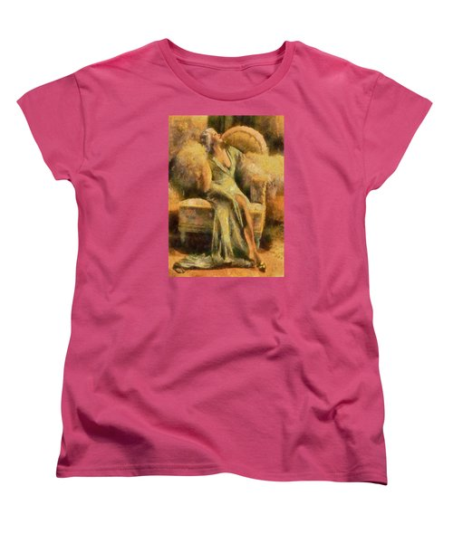 Women's T-Shirt (Standard Cut) featuring the digital art Portrait Of Jean Harlow by Charmaine Zoe