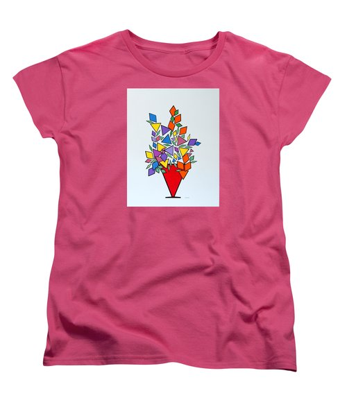 Potted Blooms Triangle Women's T-Shirt (Standard Cut) by Thomas Gronowski