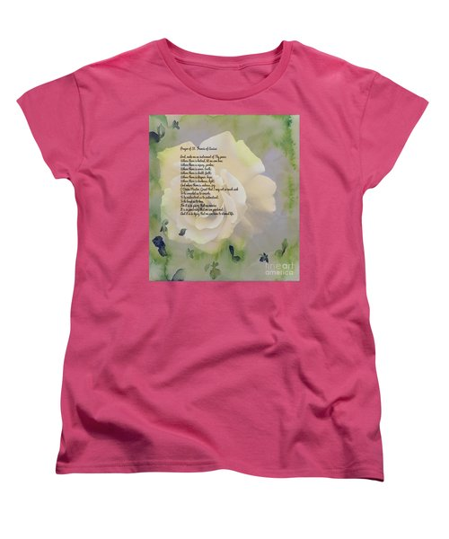 Prayer Of St. Francis And Yellow Rose Women's T-Shirt (Standard Cut) by Barbara Griffin
