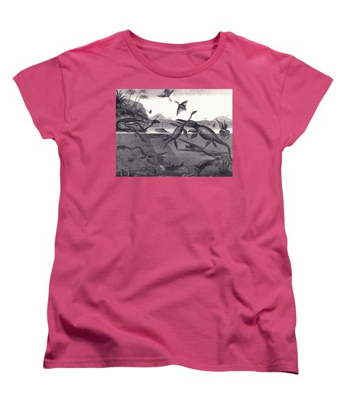 Prehistoric Animals Of The Lias Group Women's T-Shirt (Standard Cut) by English School