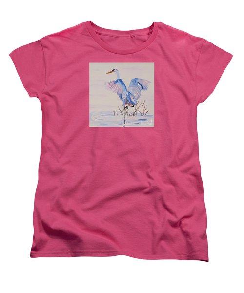 Women's T-Shirt (Standard Cut) featuring the painting Pretty Crane by Phyllis Kaltenbach