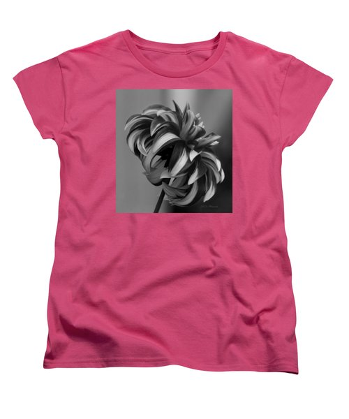 Profile Of Not Santa Two In Black And White Women's T-Shirt (Standard Cut) by Jeanette C Landstrom
