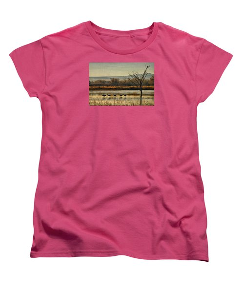 Women's T-Shirt (Standard Cut) featuring the photograph Promenade Of The Cranes by Priscilla Burgers