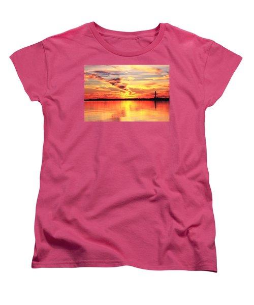 Women's T-Shirt (Standard Cut) featuring the photograph Provincetown Harbor Sunset by Roupen  Baker