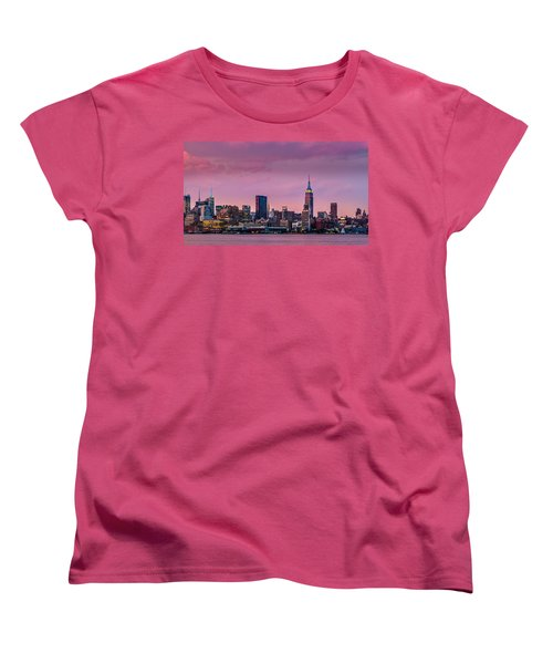 Women's T-Shirt (Standard Cut) featuring the photograph Purple City by Mihai Andritoiu
