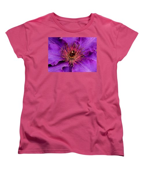 Women's T-Shirt (Standard Cut) featuring the photograph Purple Clematis by Suzanne Stout