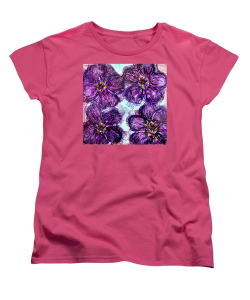 Women's T-Shirt (Standard Cut) featuring the painting Purple Daisies Alcohol Inks by Danielle  Parent