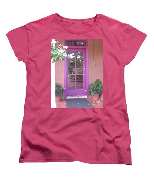 Women's T-Shirt (Standard Cut) featuring the photograph Purple Door by Dora Sofia Caputo Photographic Art and Design