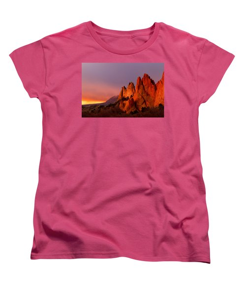 Women's T-Shirt (Standard Cut) featuring the photograph Purple Morning At Garden Of The Gods by Ronda Kimbrow