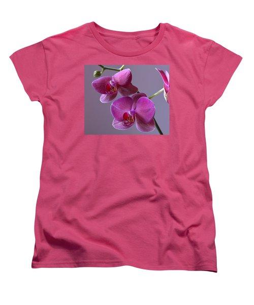 Purple Orchid Women's T-Shirt (Standard Cut) by Kathy Eickenberg