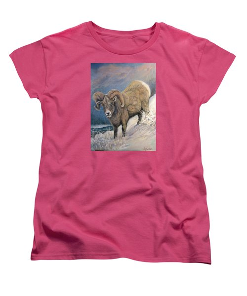 Women's T-Shirt (Standard Cut) featuring the painting Ram In The Snow by Donna Tucker
