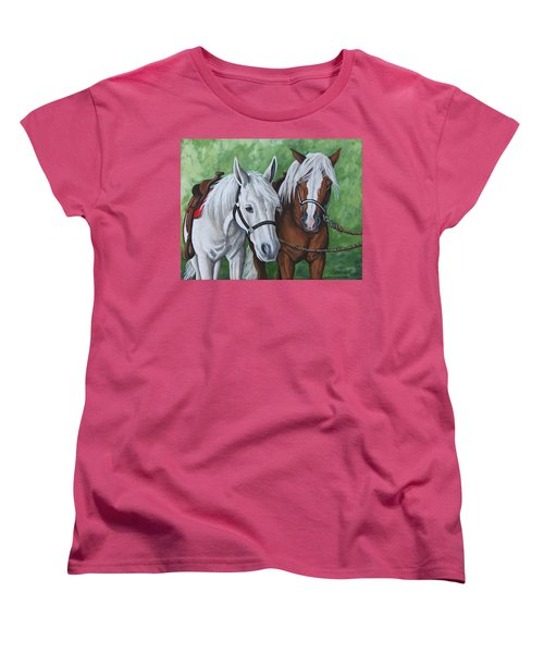 Women's T-Shirt (Standard Cut) featuring the painting Ready To Ride by Penny Birch-Williams