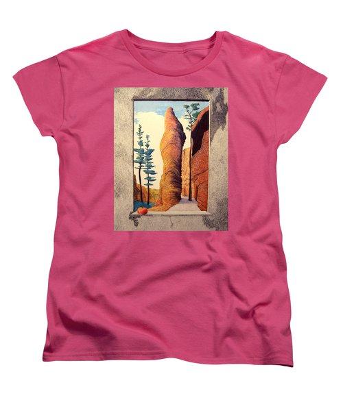 Women's T-Shirt (Standard Cut) featuring the painting Reared Window by A  Robert Malcom