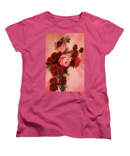 Red And Pink Roses Women's T-Shirt (Standard Cut) by Christy Saunders Church
