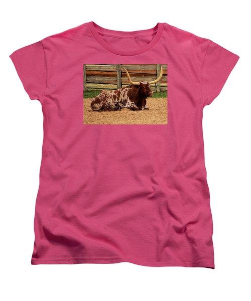 Red And White Texas Longhorn Women's T-Shirt (Standard Cut) by Jonathan Davison