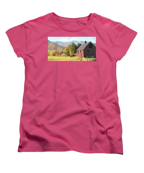 Women's T-Shirt (Standard Cut) featuring the painting Red Barn by Rob Corsetti